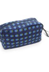 Prokritee Denim Toiletry Bag (Blue/Green Dots)