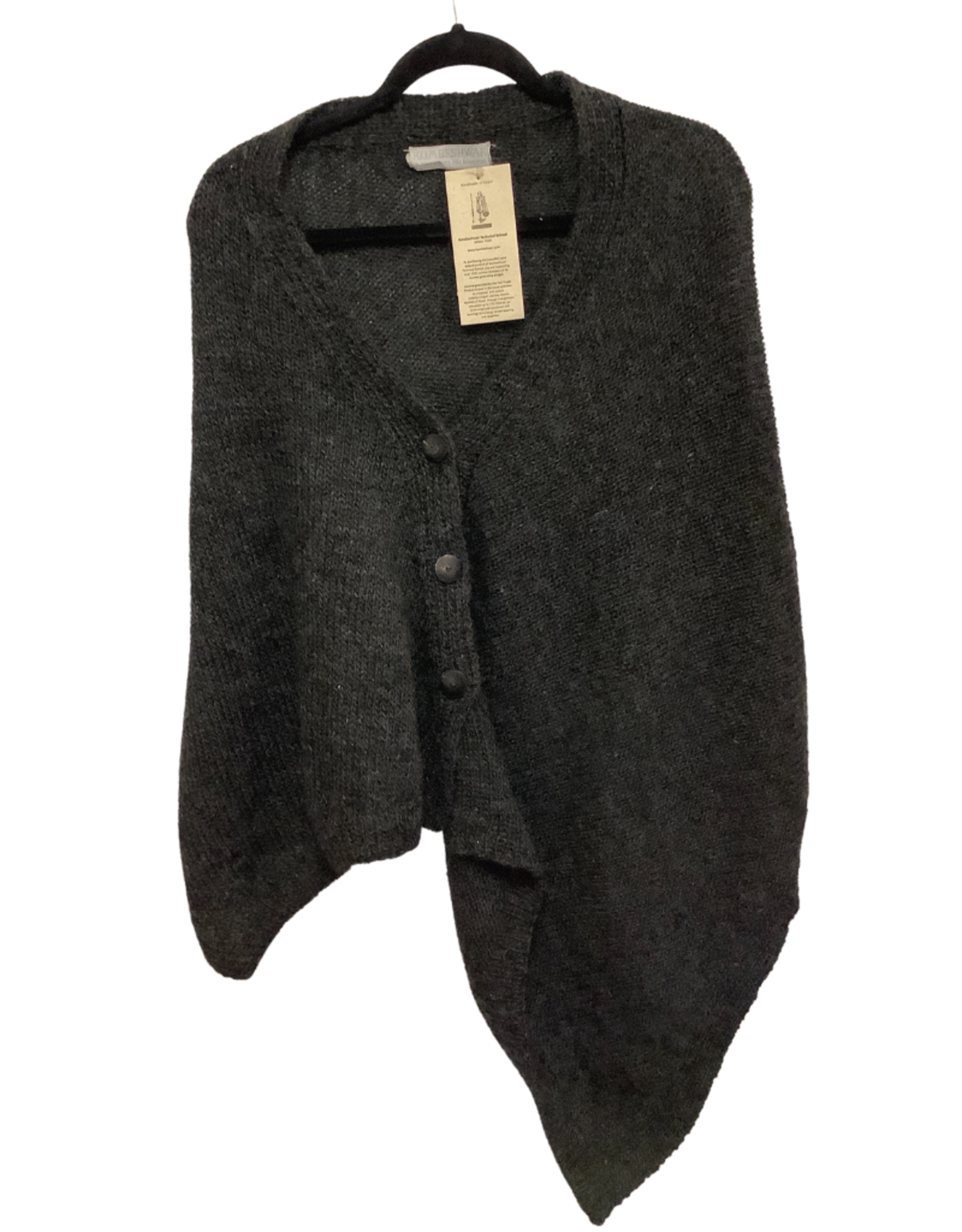 Kumbeshwar Technical School Shawl w/2 Buttons Charcoal Grey Wool