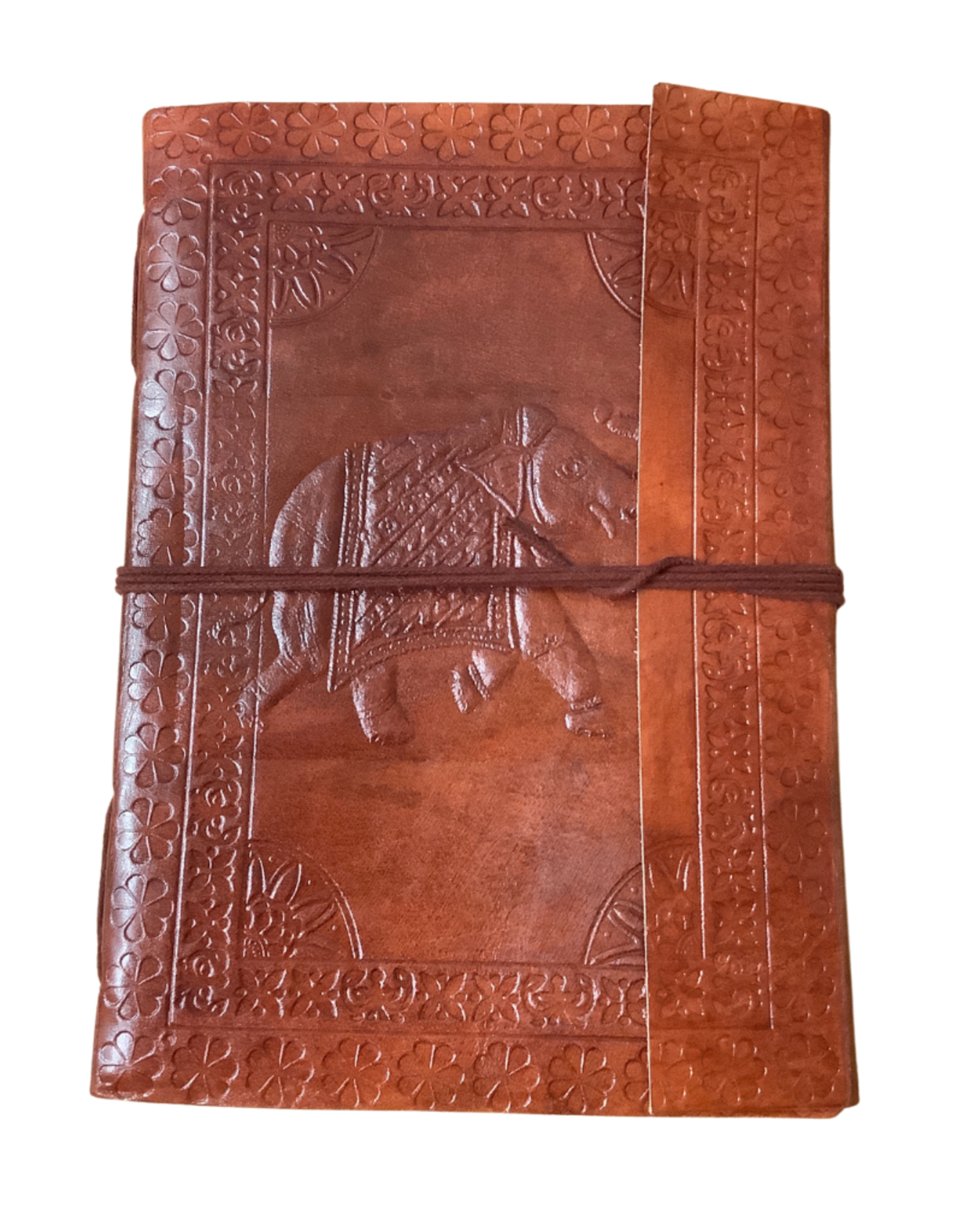 Journal Embossed Elephant Brown leather w/cord