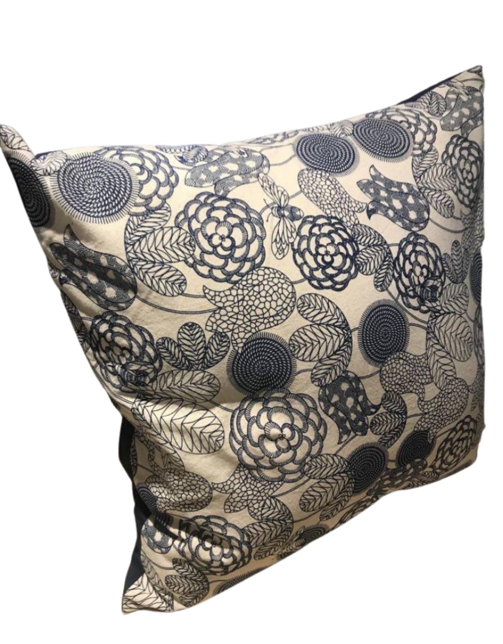 Blue Flowered Cushion
