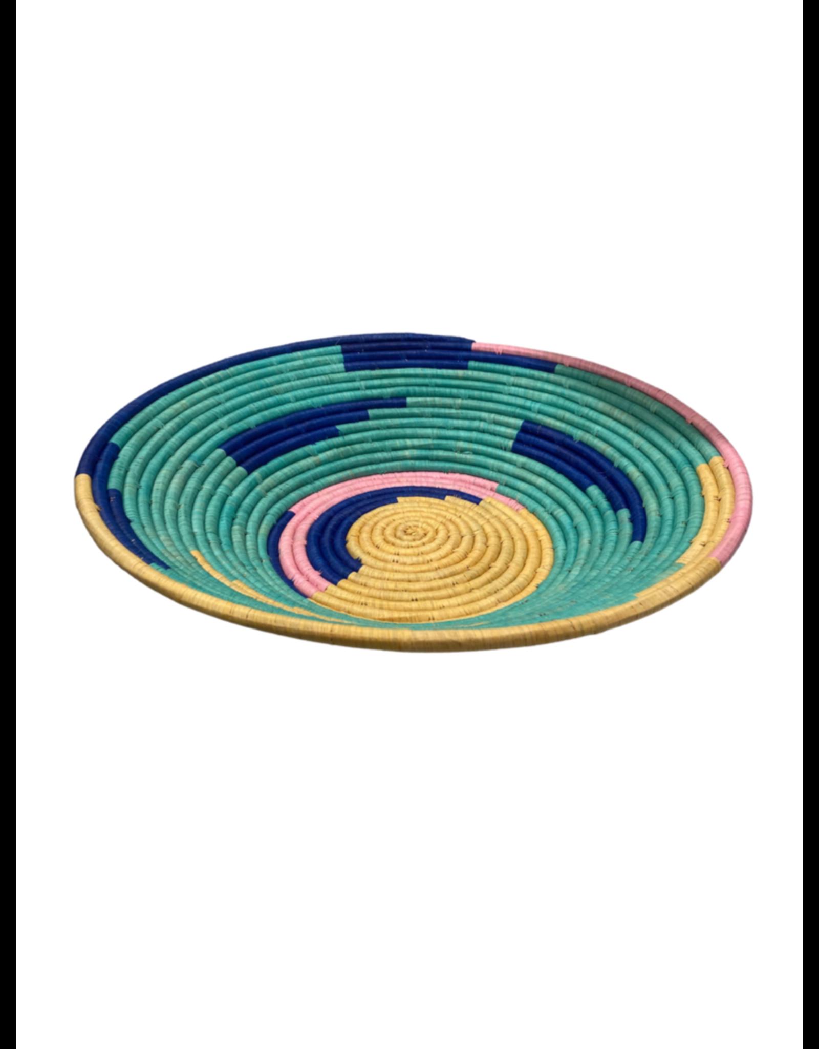 Teal Rafia Coiled Basket