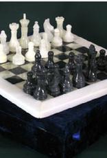 Ten Thousand Villages Chess Set Black/White Onyx in Velvet Box 32 pcs