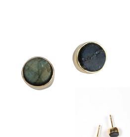 TTV USA Round Rough‒cut Post Earrings