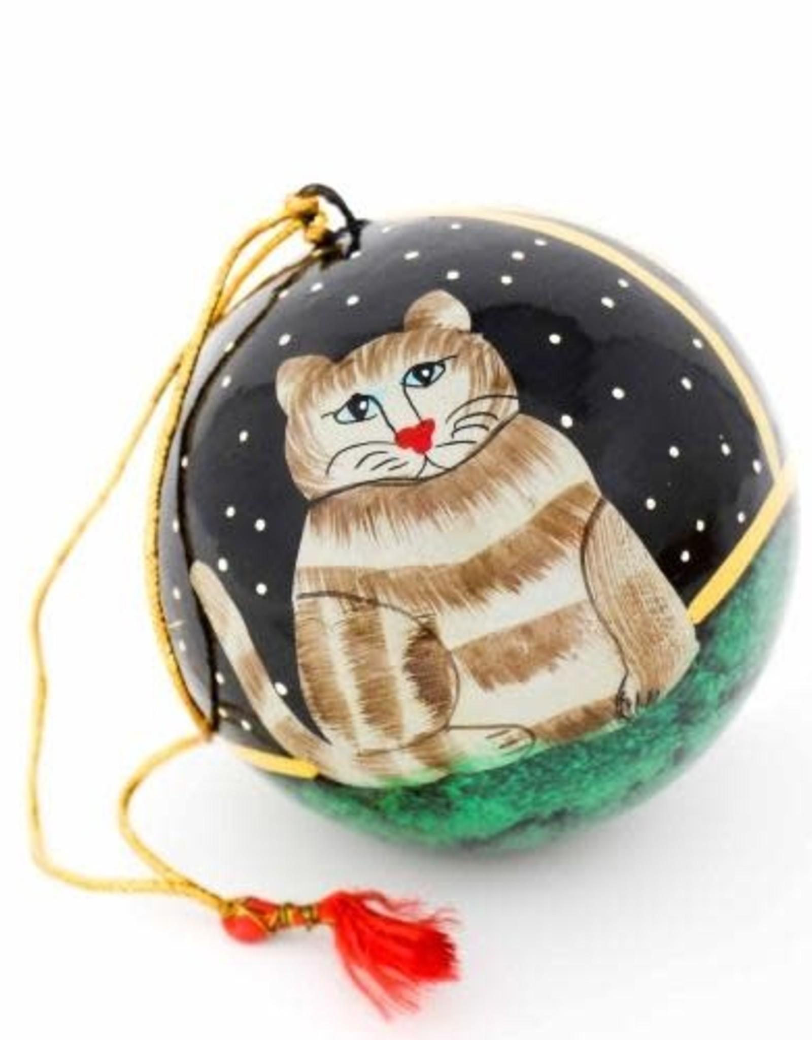 Global Crafts Ornament, Handpainted Cat