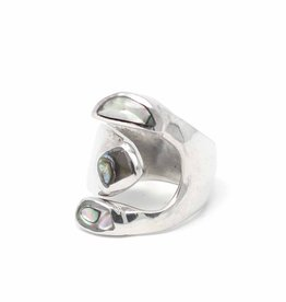 Global Crafts Ring, Alpaca Silver Wrap Abalone (6)