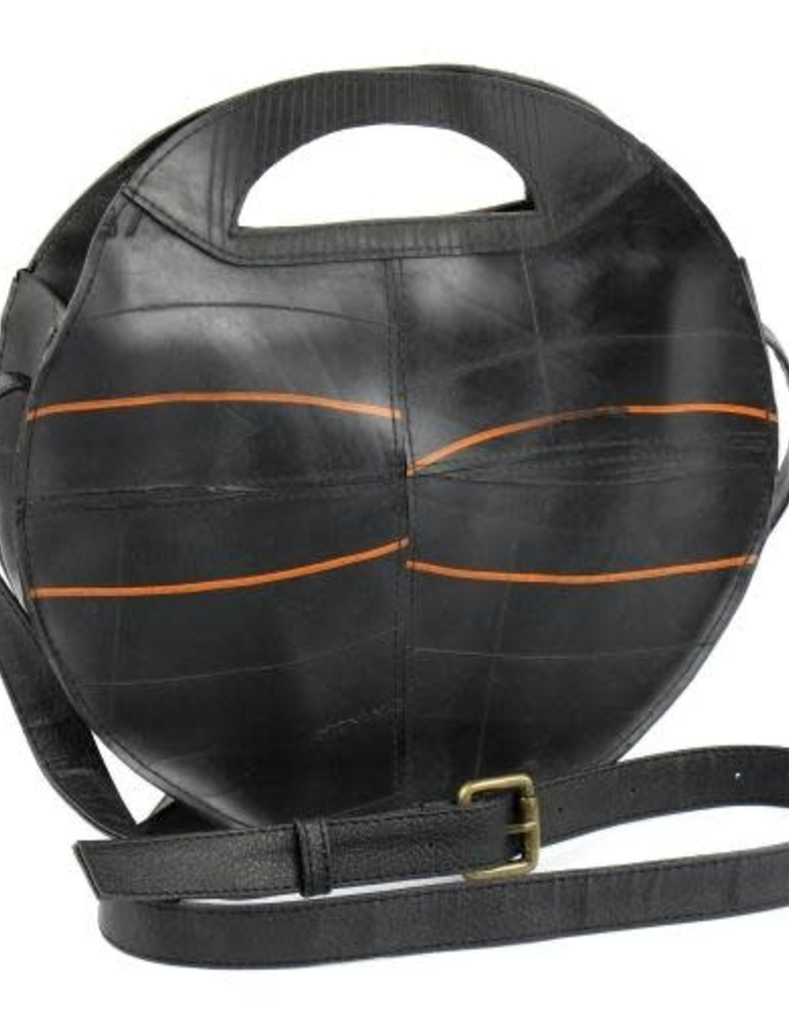 Global Crafts Bag, Shoulder Recycled Rubber Round
