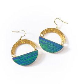 Global Crafts Earrings, Ria Blue Green Swirl