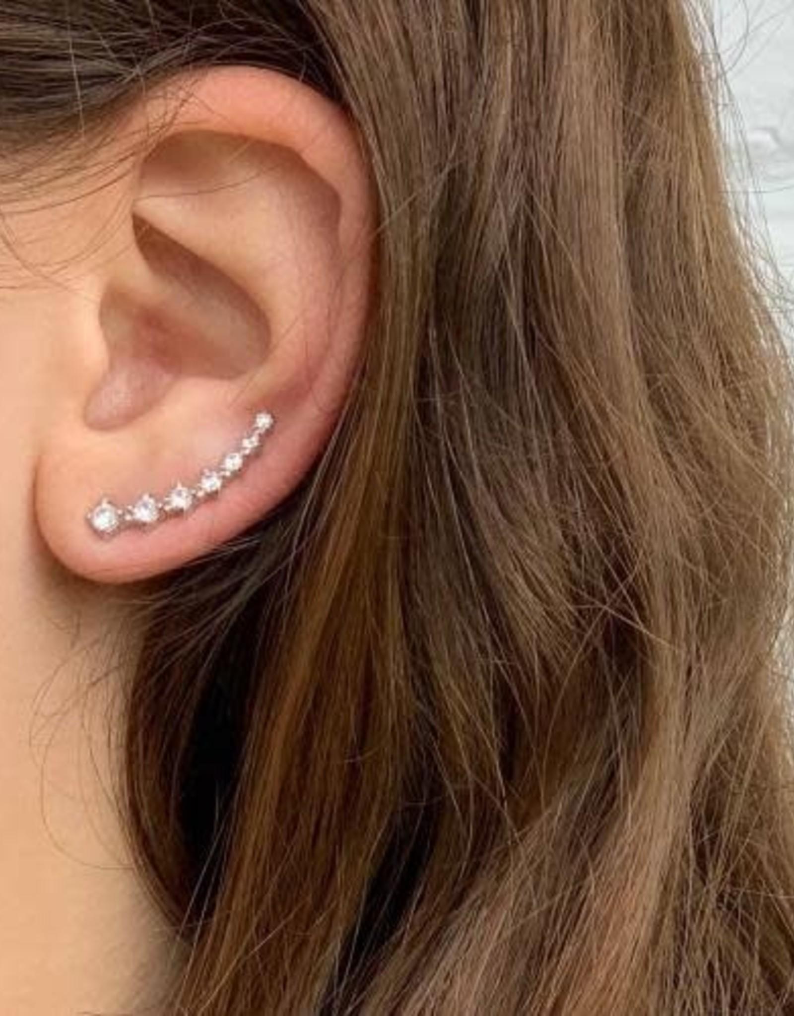 Global Crafts Earrings, Silver and Rhinestone Crawler