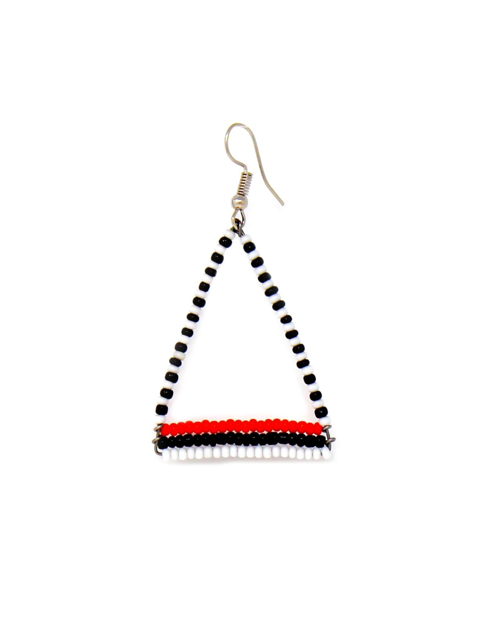 Global Crafts Earrings, Maasai Bead Triangle Dangle