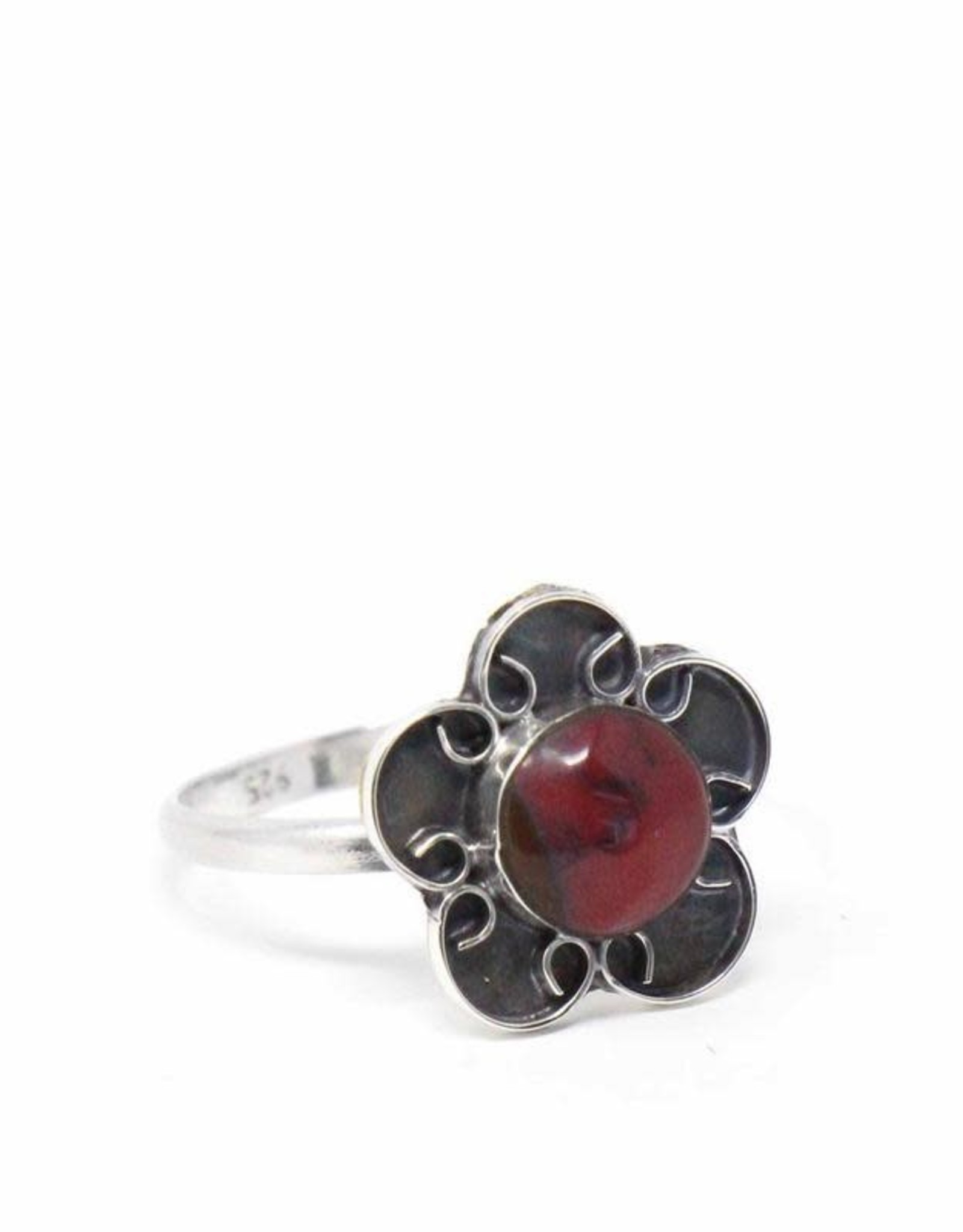 Global Crafts Ring, Mexican Taxco Red Rosette Silver-Plate
