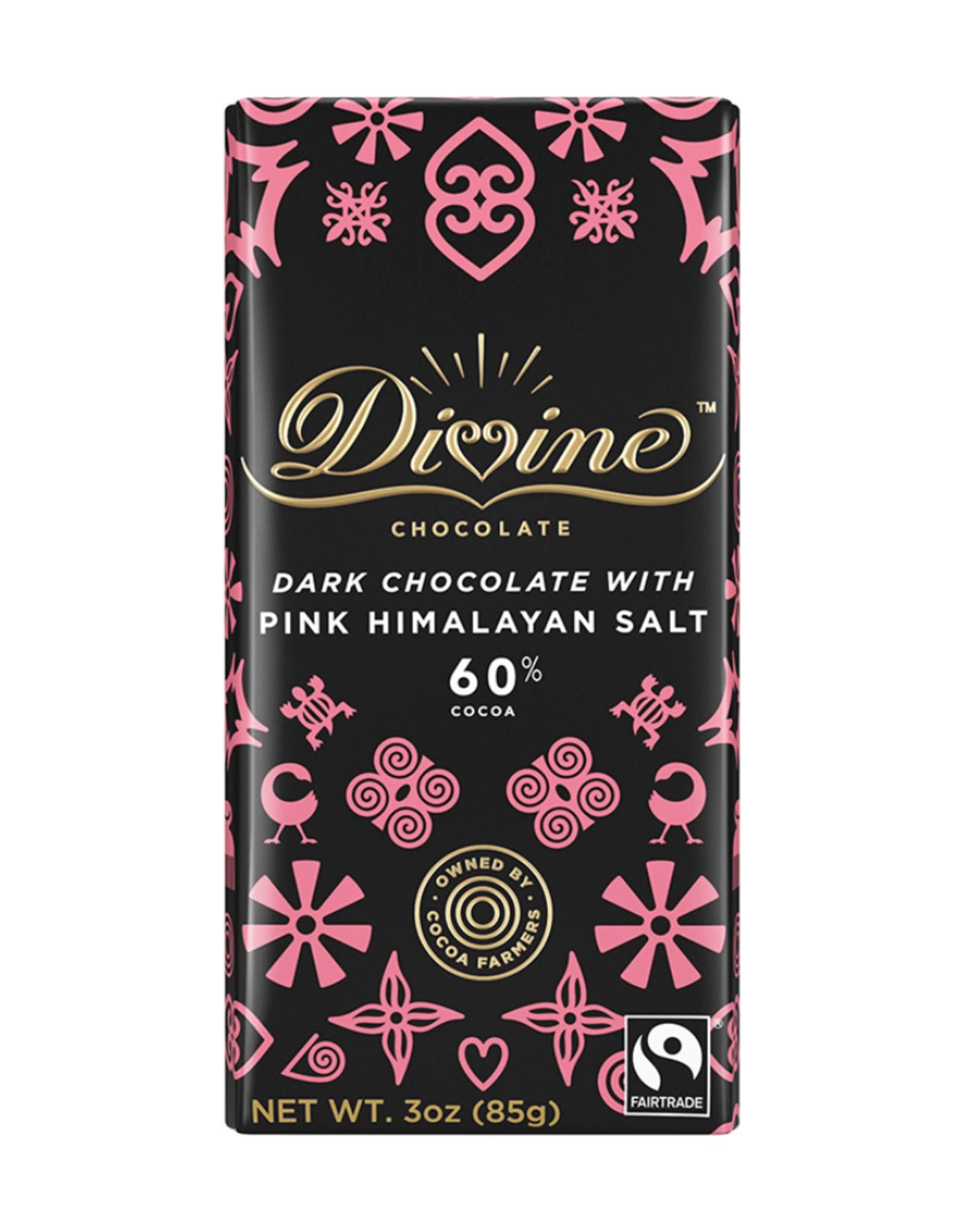 Divine Chocolate Divine Dark Chocolate with Pink Himalayan Salt 60% Cocoa 85g