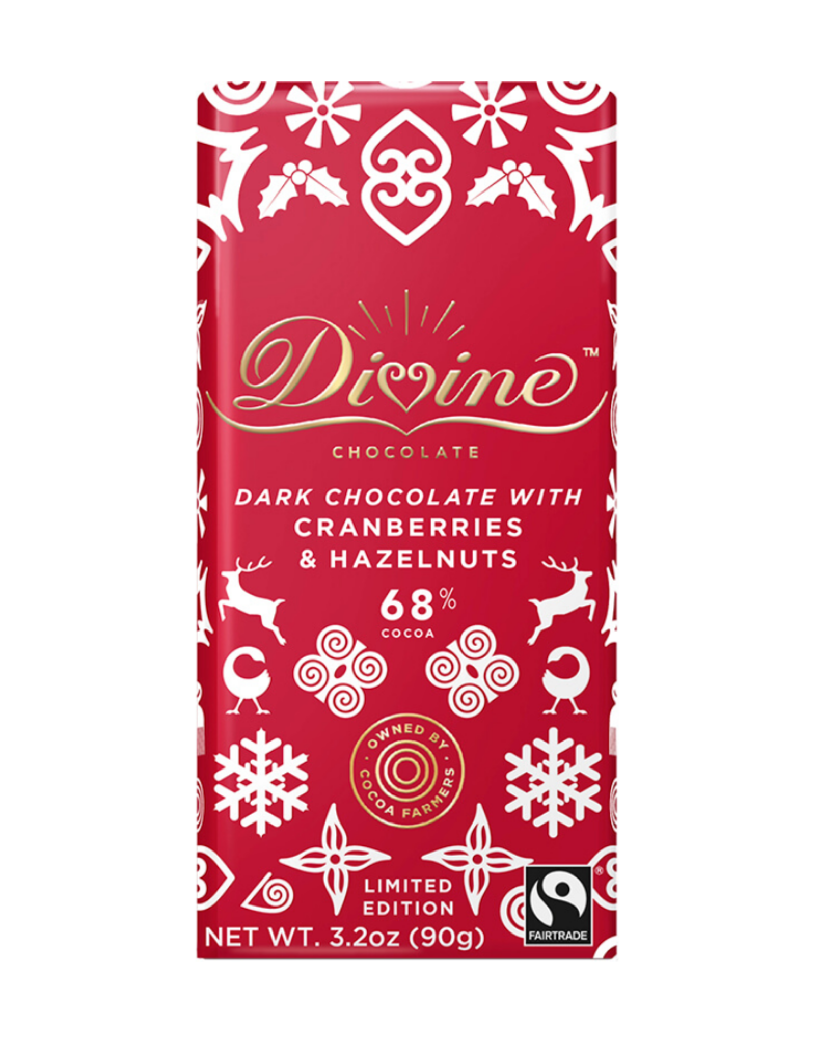 Divine Chocolate Divine Dark Chocolate with Cranberries and Hazelnuts 68% Cocoa 90g