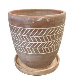 Herringbone Etched Terracotta Planter (L)