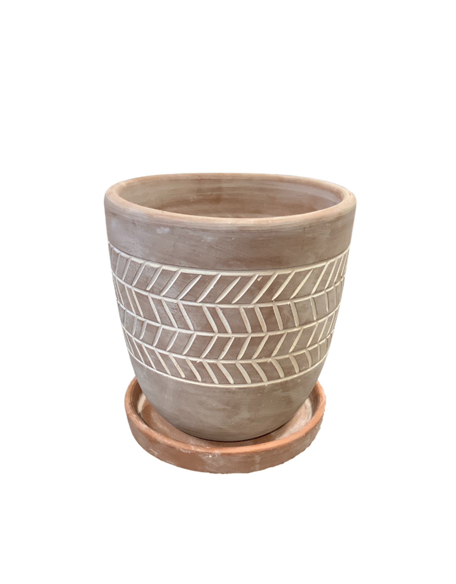 Herringbone Etched Terracotta Planter (M)