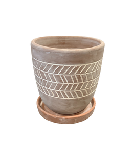 Herringbone Etched Terracotta Planter (M)