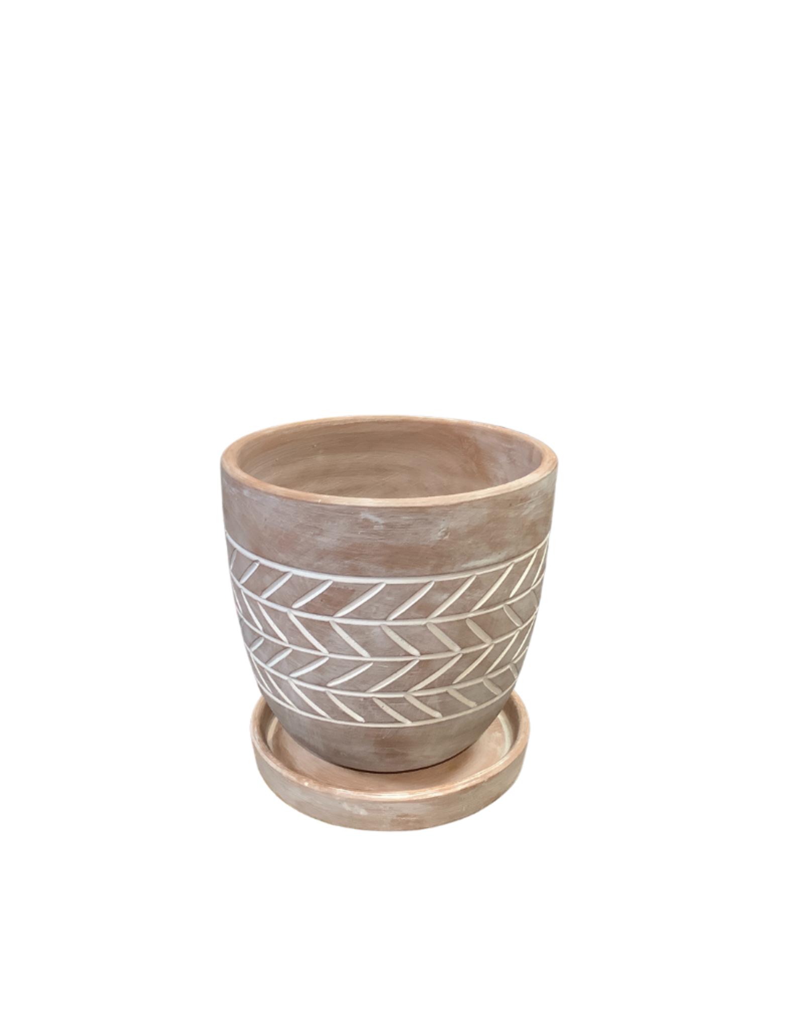Herringbone Etched Terracotta Planter (S)