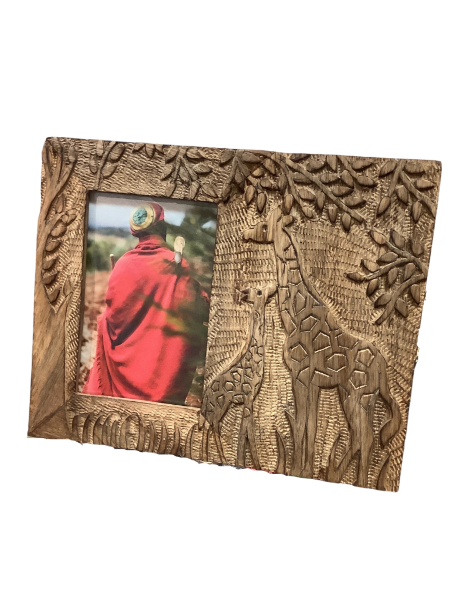 Nuzzling Giraffes Mango Wood Frame