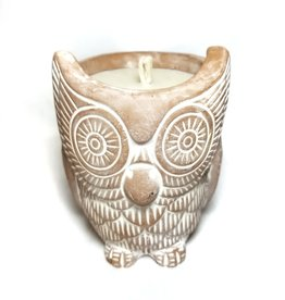 Terracotta Owl Citron Candle And Candleholder
