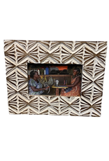 Distressed Wood Picture Frame With Wheat Motif