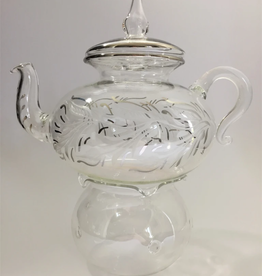 Dandarah Teapot Handblown Glass with Warmer - Leaves