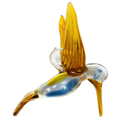 Dandarah Hummingbird Hand Blown Glass, Honey&Blue - Egypt