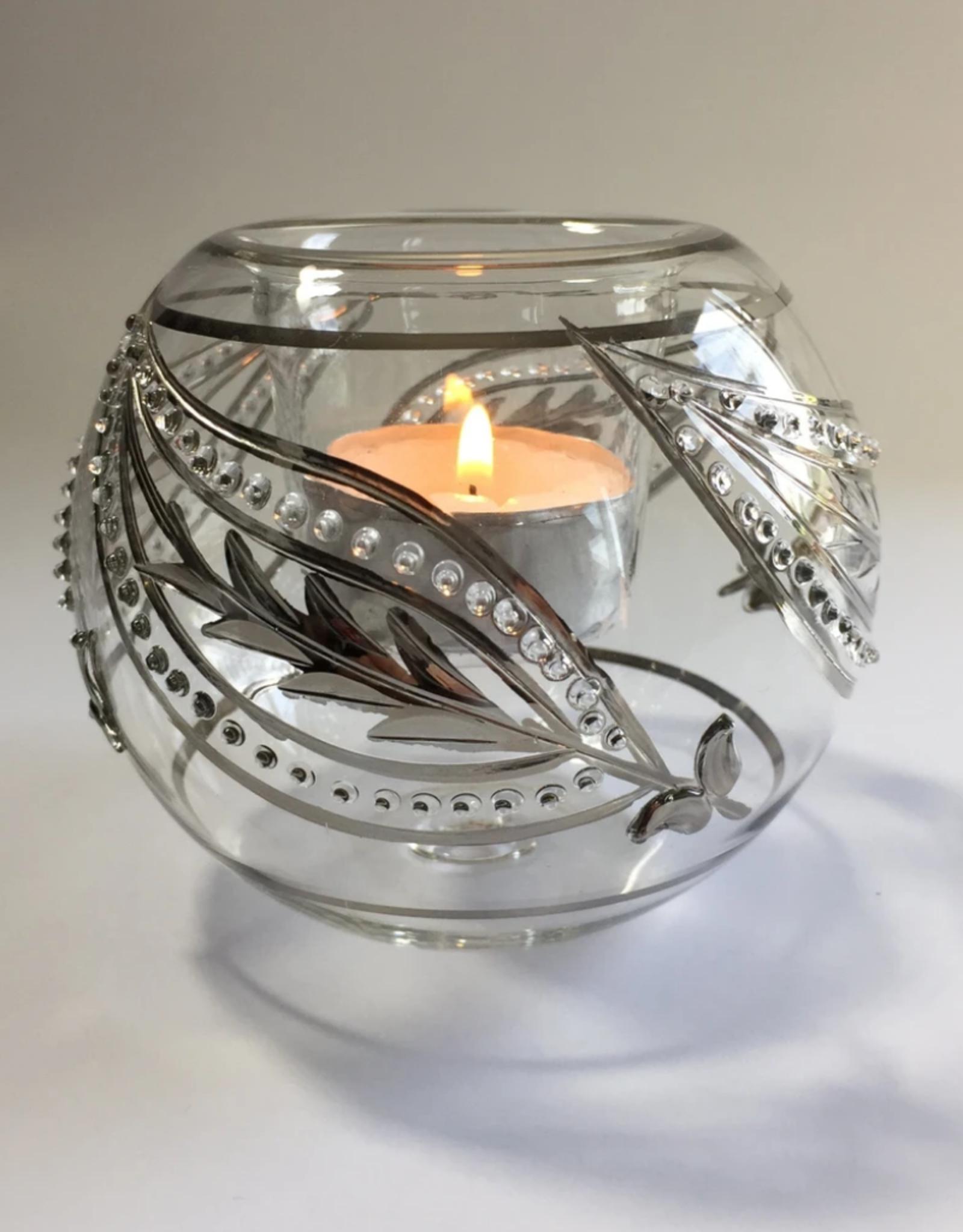 Dandarah Candleholder Handblown Glass - Silver Paisley