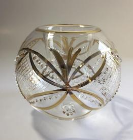 Dandarah Candleholder Handblown Glass - Gold Harlequin