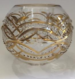 Dandarah Candleholder Handblown Glass -Gold Carousel