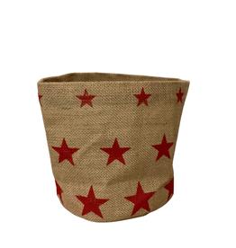 Red Stars Jute Basket