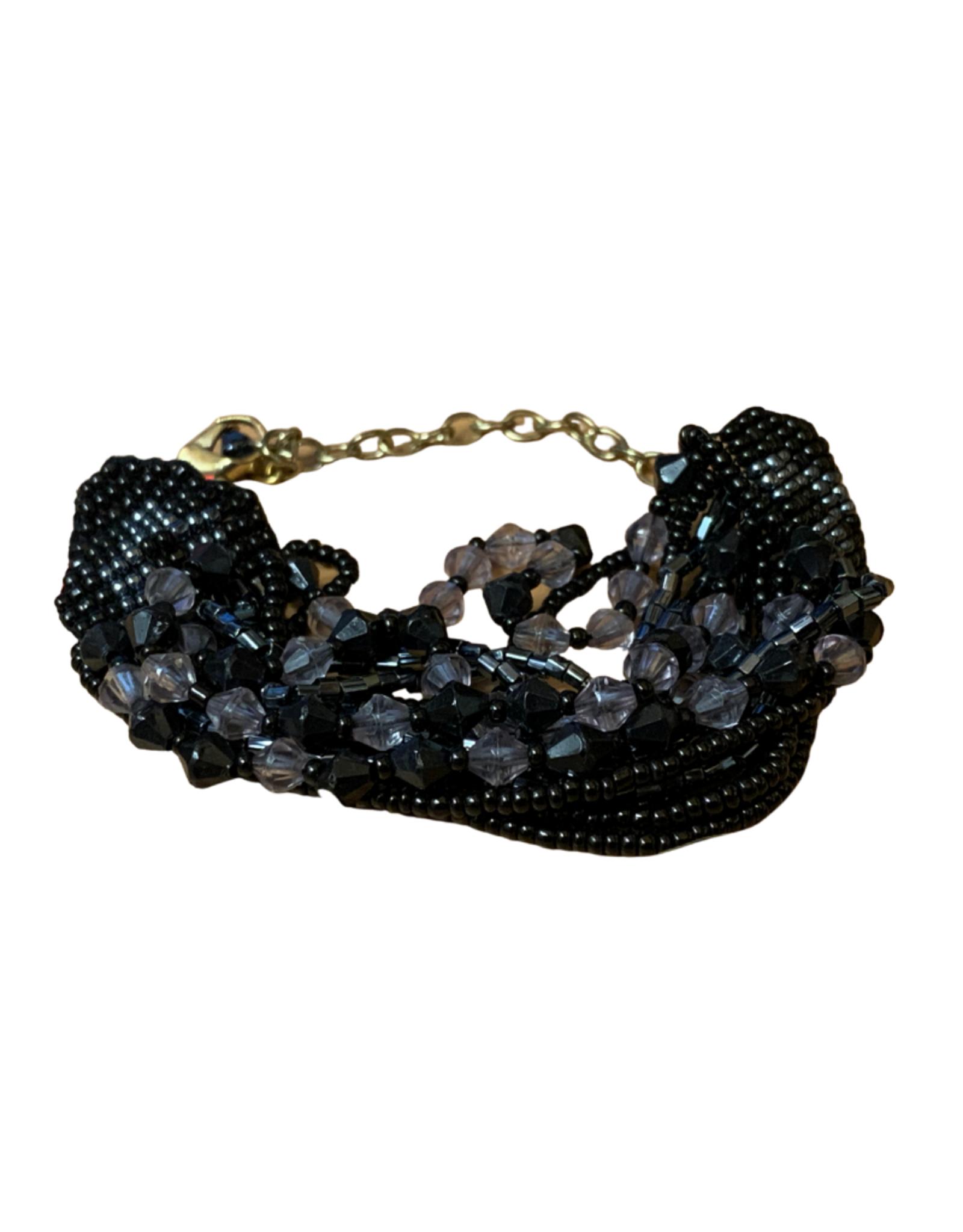 Black Glass Multistrand Bracelet - India
