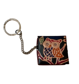 Leather Owl keychain coin holder