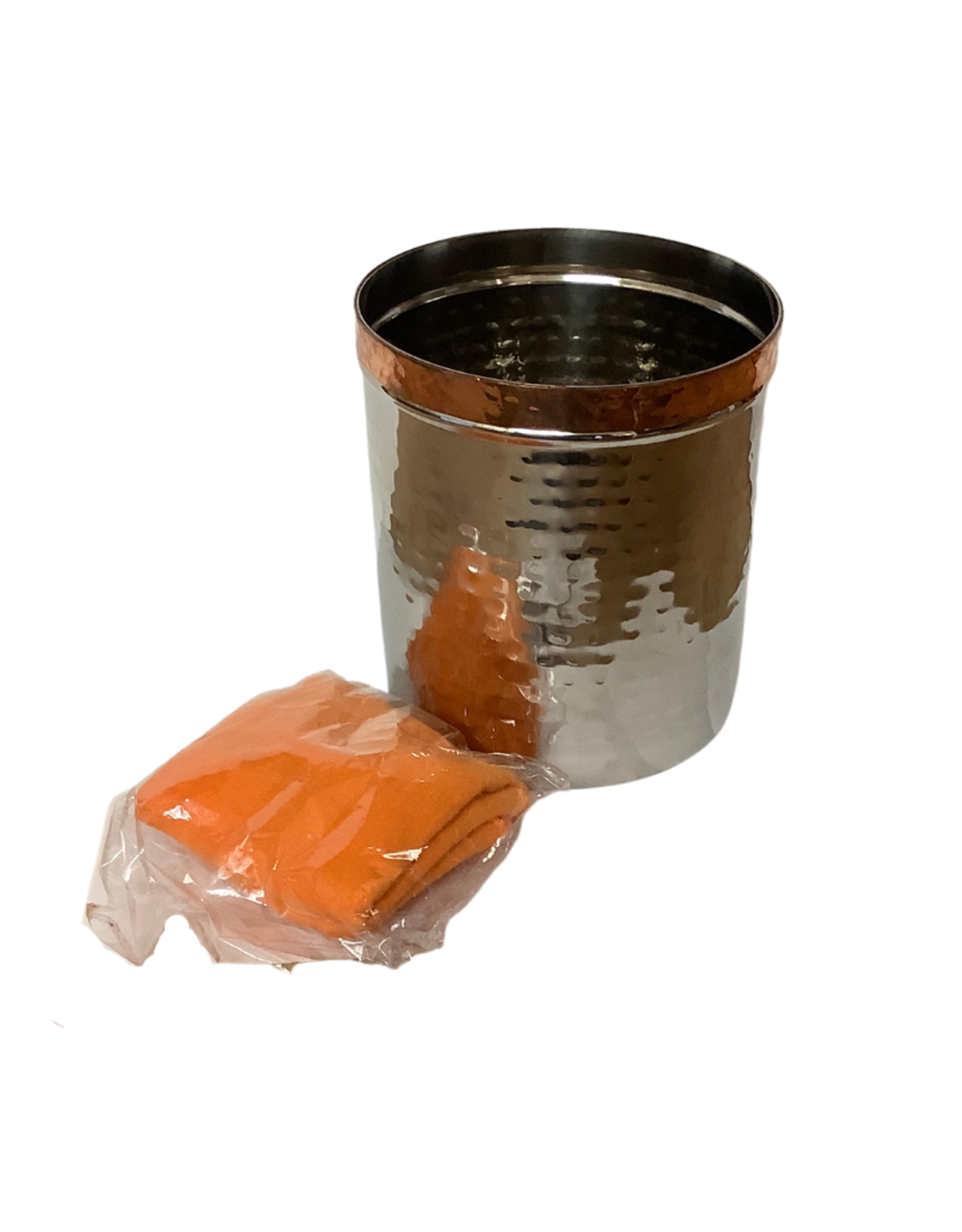 Hammered metal canister