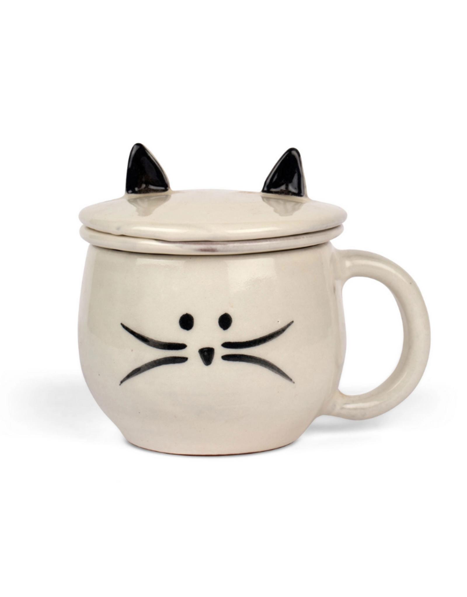Ten Thousand Villages USA Mug Meow and Tea Strainer