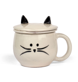 Ten Thousand Villages USA Mug Meow and Tea Strainer