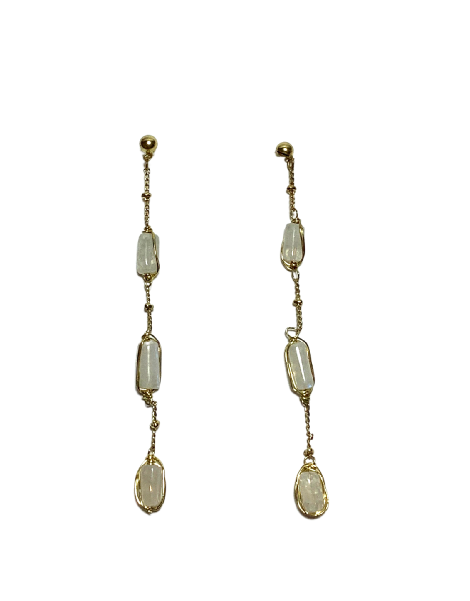 Ten Thousand Villages Brass and Stone Earrings