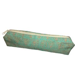 Turquoise Swirl Jute Pencil Case