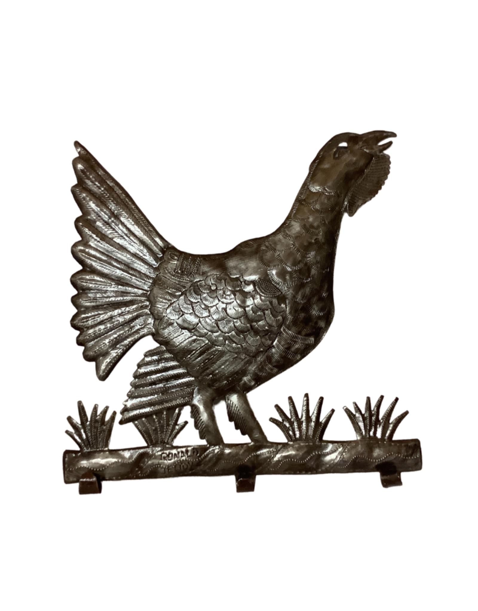 Haitian Cut Metal Rooster Wall Art