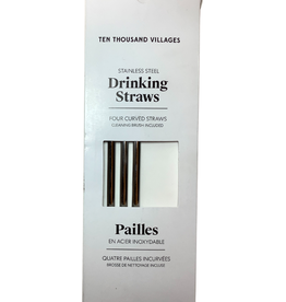 Reusable Drinking Straw Set of 4 + cleaning brush Boxed
