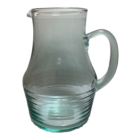 Pitcher Ribbed Clear Green Glass
