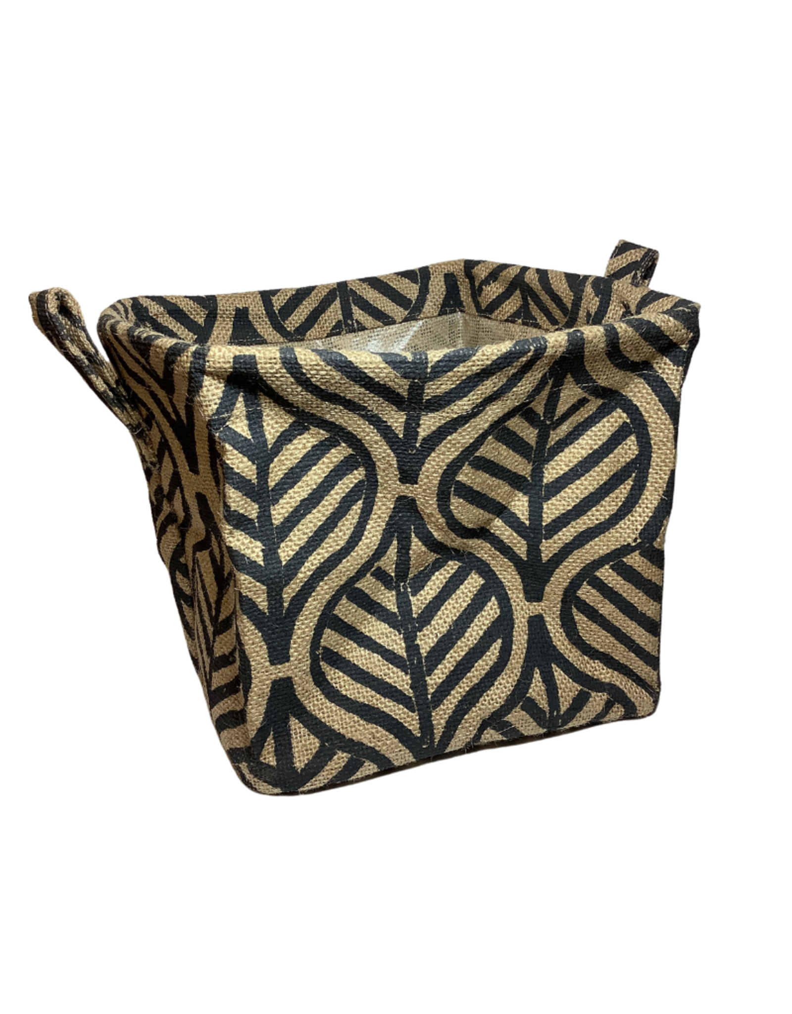 Black Palm Leaf Jute Basket (L)