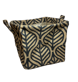 Black Palm Leaf Jute Basket (L)