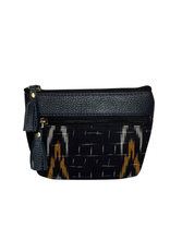 Ikat Design Leather Pouch