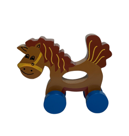 Ten Thousand Villages Wooden Horse Push and Crawl