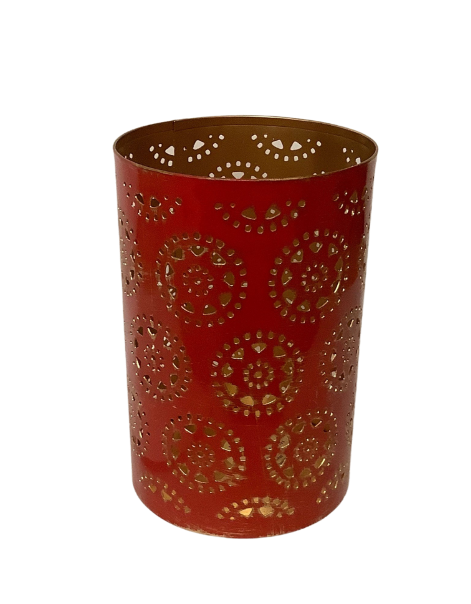 Large Red and Gold Washed Candleholder