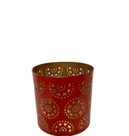 Small Red and Gold Washed Candleholder