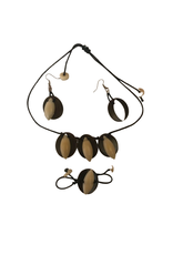 Ten Thousand Villages Wood and Tagua Jewellery Set
