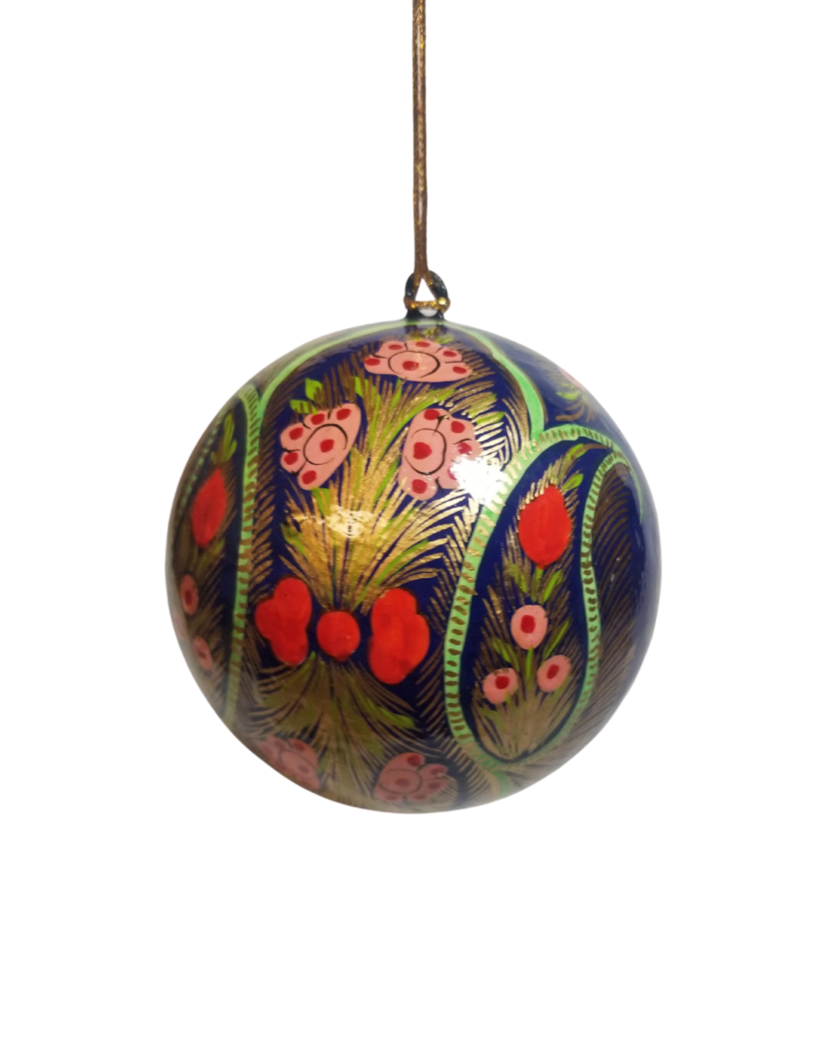 Global Crafts Ornament, Handpainted Coral Blue Floral - India