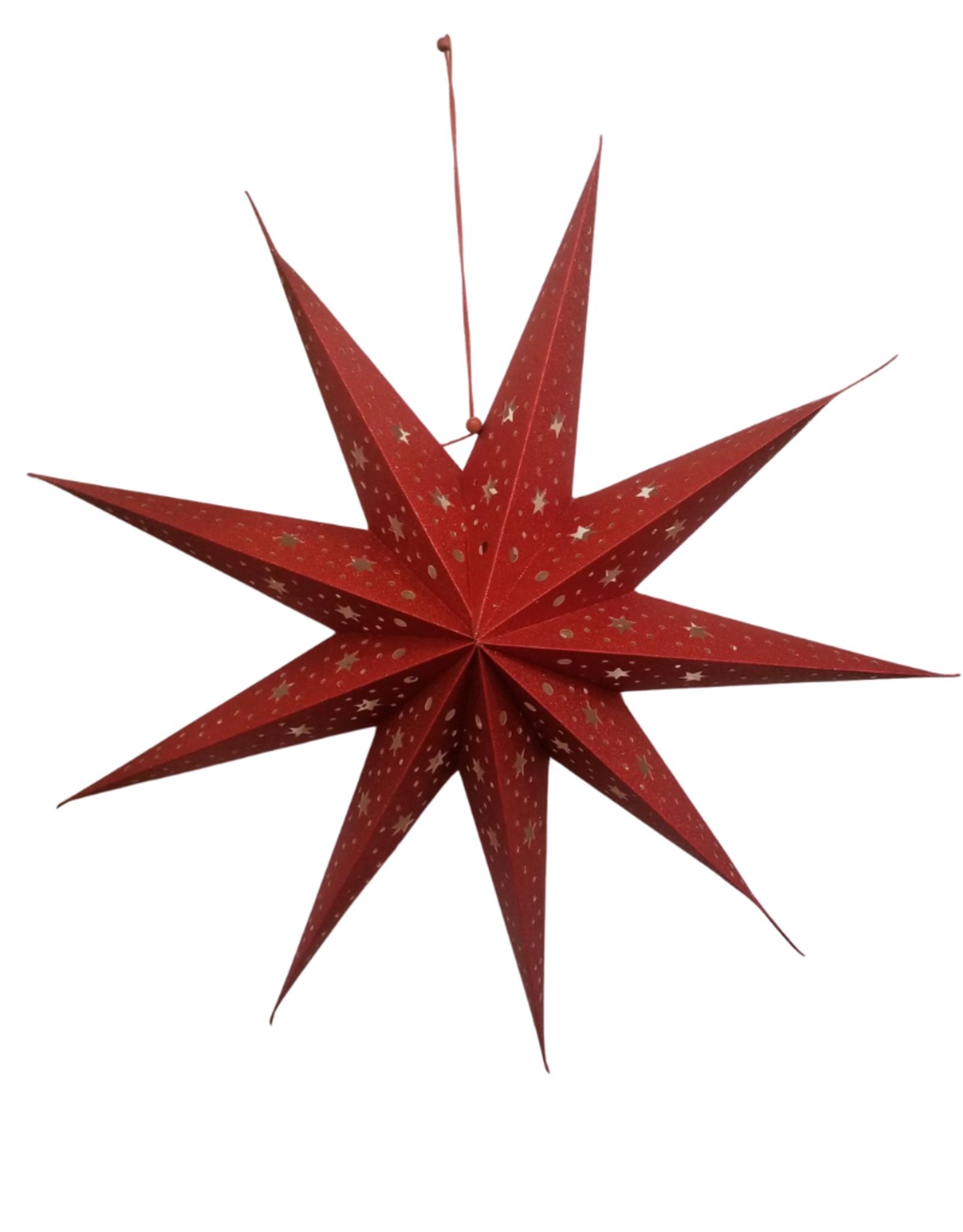 Ten Thousand Villages Red Glitter Star