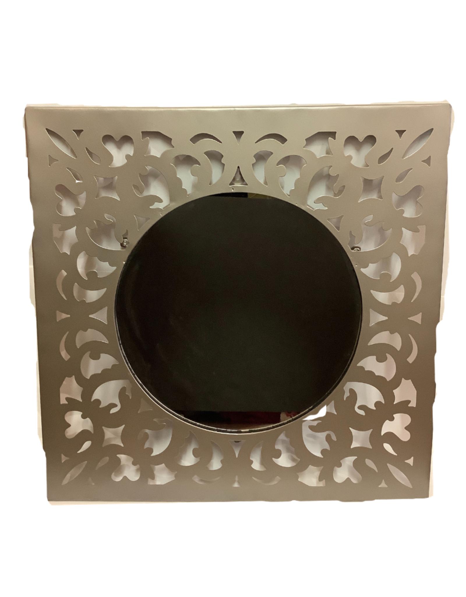 Silver, Square Filigree Mirror