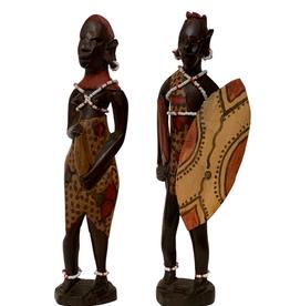 Ten Thousand Villages African Couple, wood scupture, 2pieces